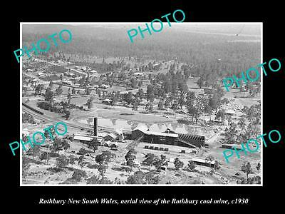 OLD LARGE HISTORIC PHOTO OF ROTHBURY NSW, AERIAL VIEW OF THE COAL MINE c1930