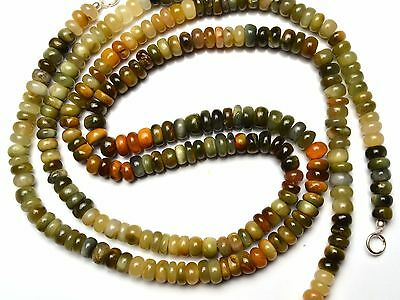 Natural Multicolor Chrysoberyl Cats Eye Smooth 7MM Rondelle Beads Necklace 16.5""