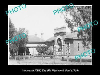 OLD LARGE HISTORIC PHOTO OF WENTWORTH NSW, VIEW OF OLD GAOL c1930s