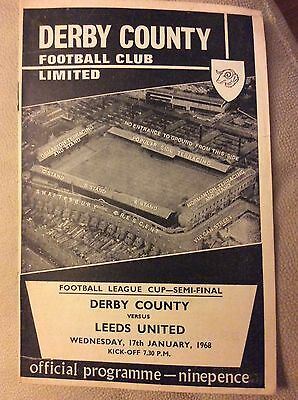 1967-68 Derby County v Leeds United League Cup Semi Final programme