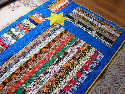 Boys handmade I Spy strip patchwork QUILT Blue with Yellow Star lap rug blanket