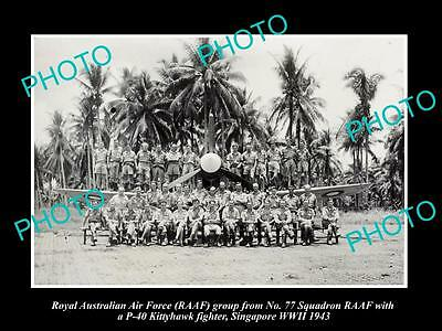 OLD HISTORIC PHOTO OF RAAF ROYAL AUSTRALIAN AIR FORCE 77th SQUADRON, WWII 1943
