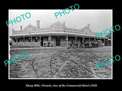 OLD LARGE HISTORIC PHOTO OF SHEEP HILLS VICTORIA, THE COMMERCIAL HOTEL c1920