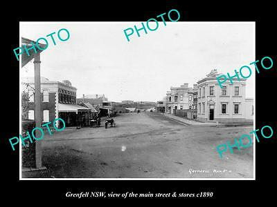 OLD LARGE HISTORIC PHOTO OF GRENFELL NSW, VIEW OF THE MAIN STREET & STORES c1890