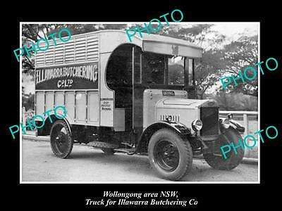 OLD LARGE HISTORIC PHOTO OF WOLLONGONG - ILLAWARRA BUTCHERS DELIVERY TRUCK 1920s
