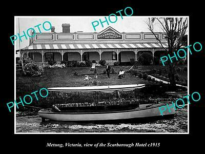 OLD LARGE HISTORIC PHOTO OF METUNG VICTORIA, VIEW OF THE SCARBOROUGH HOTEL c1915
