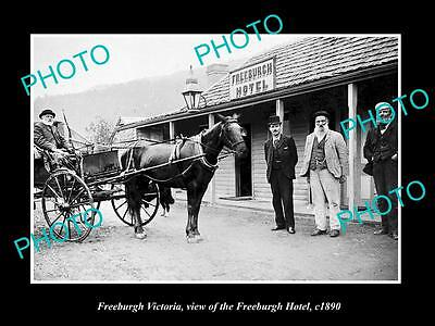 Old Large Historic Photo Of Freeburgh Victoria, View Of The Freeburgh Hotel 1900