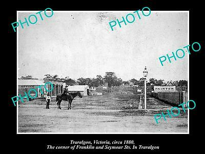 OLD LARGE HISTORIC PHOTO OF TRARALGON VICTORIA, VIEW OF FRANKLIN ST c1880
