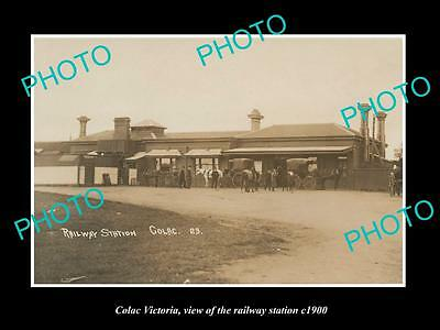 OLD LARGE HISTORIC PHOTO OF COLAC VICTORIA, VIEW OF THE RAILWAY STATION c1900