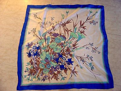 Large Vintage Real Silk Scarf...Really fine silk from China.Blue floral design..