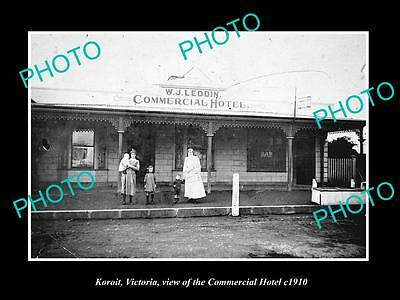 OLD LARGE HISTORIC PHOTO OF KOROIT VICTORIA, VIEW OF THE COMMERCIAL HOTEL c1910