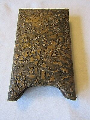 Superb Antique Chinese Influence Italian Tooled Leather Photo Picture Frames