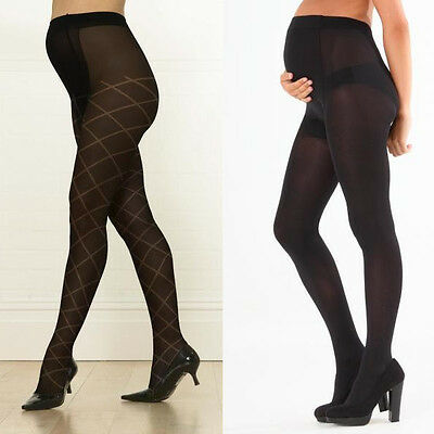 Emma Jane Maternity Tights Pregnancy Over Bump Support 60 Denier Black Patterned