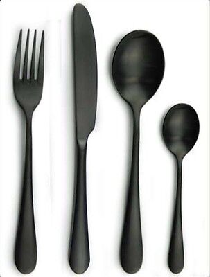 16pc Black Stainless Steel Cutlery Table Set Knives Fork Spoon MATTE
