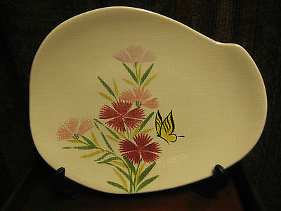 VINTAGE RETRO RED WING PINK SPICE PLATTER HAND PAINTED USA c 1950's