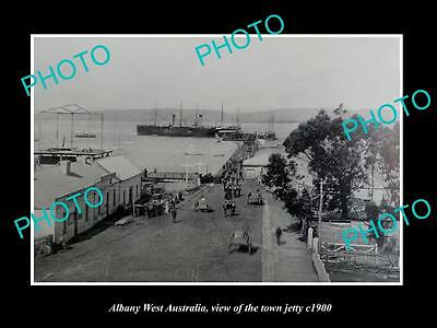 OLD LARGE HISTORIC PHOTO OF ALBANY WEST AUSTRALIA, VIEW OF THE TOWN JETTY c1900