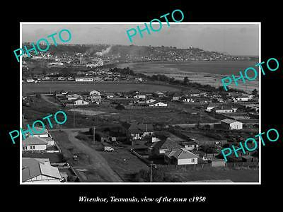 OLD LARGE HISTORIC PHOTO OF WIVENHOE TASMANIA, VIEW OF THE TOWNSHIP c1950