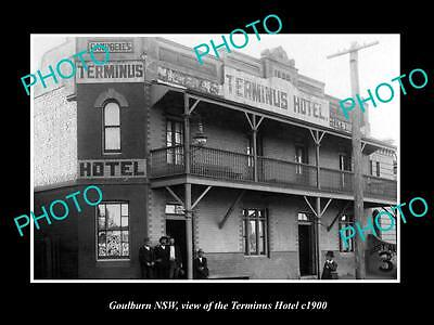 OLD LARGE HISTORIC PHOTO OF GOULBURN NSW, VIEW OF THE TERMINUS HOTEL c1900
