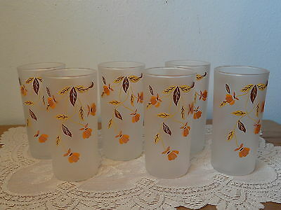 """Set of 6 Autumn Leaf Jewel Tea Libbey Frosted Glass Tumblers 5.5"""""""