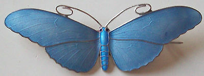 Superb Reproduction Of A Marius Hammer Large Butterfly Fine Enamel Silver Brooch