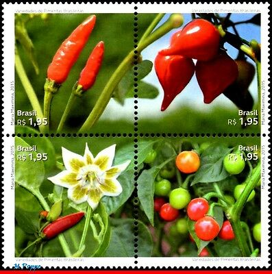 15-19 Brazil 2015 Varieties Of Brazilian Peppers, Fruit, Flowers And Plants, Mnh