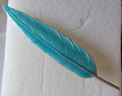 Reproduction Of A Beautiful Art Deco Style Fine Enamel Feather Silver Brooch Pin