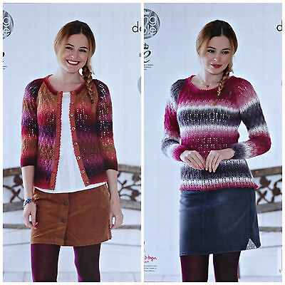 KNITTING PATTERN Ladies Round Neck Lacy Cardigan Jumper Riot DK King Cole 4779