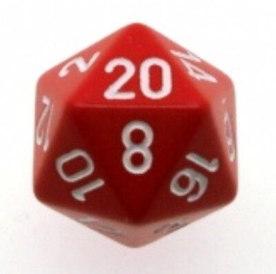 d20 Dice Chessex 16mm Opaque Red white PQ2004 Dice Matt Red white CHX D&D