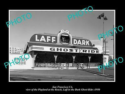 OLD LARGE HISTORIC PHOTO OF SAN FRANCISCO PLAYLAND AT THE BEACH GHOST RIDE c1950