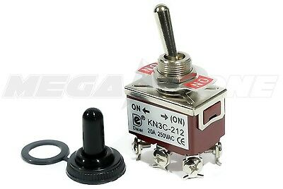 Heavy Duty 20A/125V DPDT Momentary ON-(ON) Toggle Switch w/Waterproof Boot.
