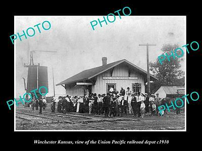 Old Large Historic Photo Of Winchester Kansas, Union Pacific Railroad Depot 1910