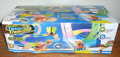TWISTER TRACKS 11ft Neon Glow Flexible Track with Loop & 2 Emergency Vehicles