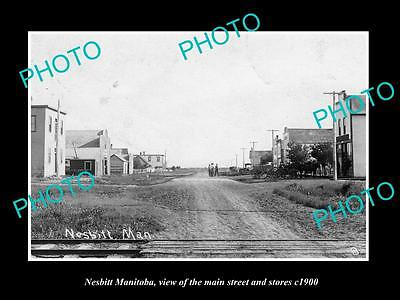 OLD LARGE HISTORIC PHOTO OF NESBITT MANITOBA, VIEW OF THE MAIN St & STORES c1900