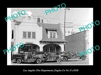 OLD LARGE HISTORIC PHOTO OF LOS ANGELES FIRE DEPARTMENT, ENGINE Co 11 TRUCK 1930