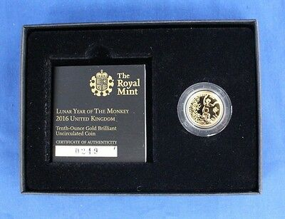 "2016 Royal Mint 1/10oz Gold £10 coin ""Year of the Monkey"" in Box with COA (X8/2)"