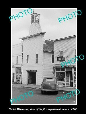 OLD LARGE HISTORIC PHOTO OF CADOTT WISCONSIN, THE FIRE DEPT STATION c1940