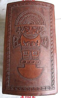 Vintage Mexican Hand Tooled Leather Large  Jewelry Box
