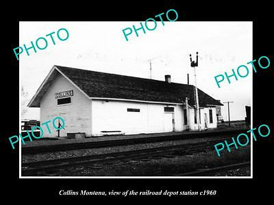 OLD LARGE HISTORIC PHOTO OF COLLINS MONTANA, THE RAILROAD DEPOT STATION c1960