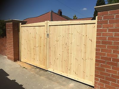 6' x 12' Double Driveway Wooden Gates Timber Garden Curved Top