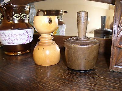 X2 Early Folk Art Treen Pieces a Butter Stamp + Apothecary Measure