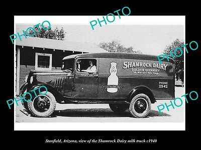 OLD LARGE HISTORIC PHOTO OF STANFIELD ARIZONA, THE SHAMROCK DAIRY TRUCK c1940