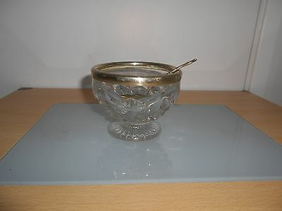Vintage Glass sugar dish with spoon