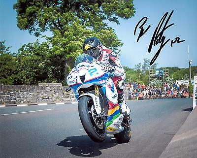 Bruce Anstey 2016 Isle of Man TT signed Sulby Bridge 10 x 8 photo & certificate.