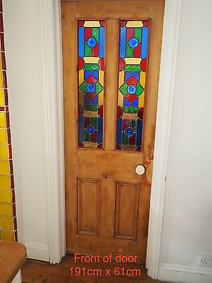 Leaded light stained glass pine door (reclaimed)