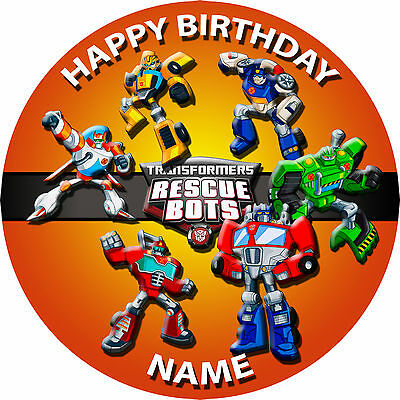 "1 x 7.5""  Transformers Rescue Bots PERSONALISED Rice/Wafer Paper Cake Topper"