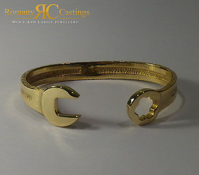 Solid Spanner Bangle Bracelet cast 9ct Yellow Gold Fully Hallmarked 26 grams