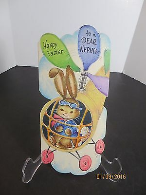 Vintage Easter Nephew Greeting Card Gibson Bunny Flring Helicopter  Unused