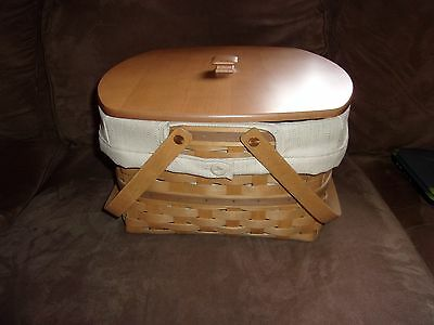 Longaberger 2003 Hostess Two Pie Basket Set with WoodCrafts Lid - Oatmeal