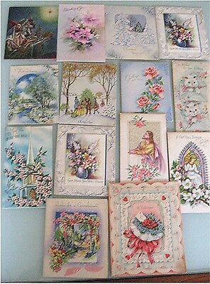 14 Used Vintage Various Occasion Greeting Cards for Scrapbooking, Crafts