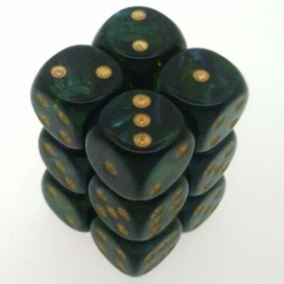 12 d6 Dice Set Chessex SCARAB JADE gold 27615 Dice GIADA gold